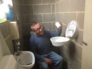 Tony in toilet